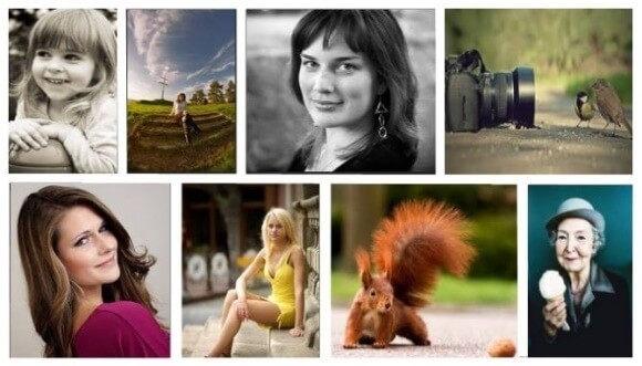 Illustrative photography of happy and contented people - a database of photos in a photo bank.
