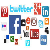 Icons of social networks – Facebook, Youtube, Google+, Twitter and more.