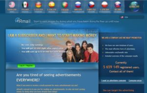 Landing page of PTC system Ermail.com, that attracts people to get 10$ as an initial bonus.