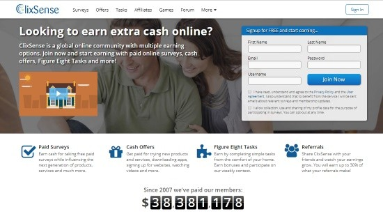 Main page of the ysense.com company.