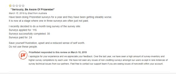 Another review by Brad from Australia, who recommends to avoid Prizerebel company by far.