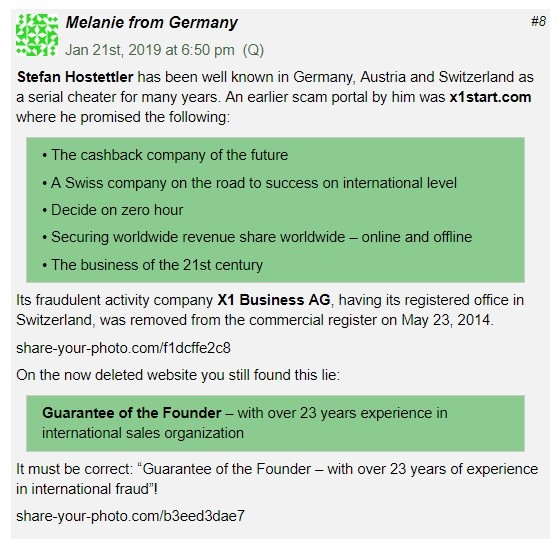 A commentary on the BehindMLM website, where Melanie from Germany expresses her views about Stefan Hostettler being an MLM fraudster.