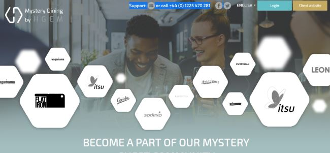 Mystery Dinning landing page