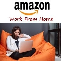 A woman at home, working for Amazon remotely.