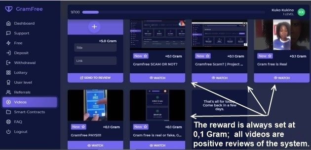 You can see several videos in this picture. They are all positive reviews from the GrammFree system users.