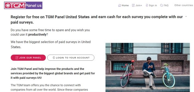 TGM Panel USA Home page, where you can register.